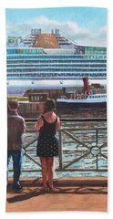 Hand Towel featuring the painting People At Southampton Eastern Docks Viewing Ship by Martin Davey