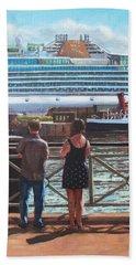 People At Southampton Eastern Docks Viewing Ship Bath Towel