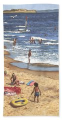 people on Bournemouth beach Blue Sea Hand Towel by Martin Davey