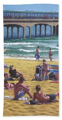 people on Bournemouth beach Boys looking Hand Towel