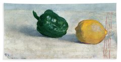 Pepper And Lemon On A White Tablecloth Hand Towel