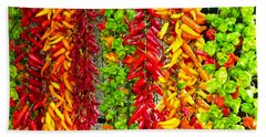 Bath Towel featuring the photograph Peppers For Sale by Mike Ste Marie
