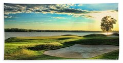 Perfect Golf Sunset Hand Towel by Reid Callaway