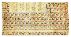 Periodic Table Of The Elements Vintage White Frame Bath Towel