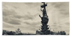 Peter The Great Monument In The Moscva Hand Towel