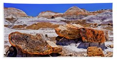 Hand Towel featuring the photograph Petrified Forest - Painted Desert by Bob and Nadine Johnston