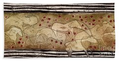 Petroglyph - Ensemble Of Red Dots And Short Strokes - Prehistoric Art - The Plains - Prarie Country Bath Towel