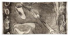Petroglyph - Horse Takhi And Stones - Prehistoric Art - Cave Art - Rock Art - Cave Painters Hand Towel