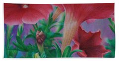 Hand Towel featuring the painting Petunia Skies by Pamela Clements