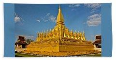 Temple Of Pha That Luang Laos Bath Towel
