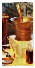 Bath Towel featuring the photograph Pharmacist - Brass Mortar And Pestle by Susan Savad