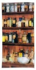 Bath Towel featuring the photograph Pharmacist - Mortar Pestles And Medicine Bottles by Susan Savad