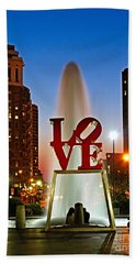 Philadelphia Love Park Bath Towel by Nick Zelinsky