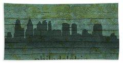 Philadelphia Pennsylvania Skyline Art On Distressed Wood Boards Hand Towel by Design Turnpike