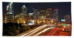 Philadelphia Skyline At Night In Color Car Light Trails Bath Towel