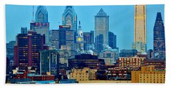 Philadelphia Skyline Hand Towel by Benjamin Yeager