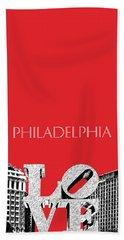 Philadelphia Skyline Love Park - Red Hand Towel