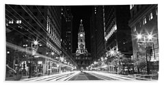 Philadephia City Hall -- Black And White Bath Towel by Stephen Stookey