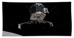 Hand Towel featuring the photograph Philae Lander Descending To Comet 67pc-g by Science Source