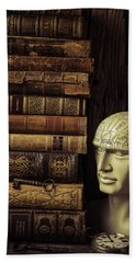 Phrenology Head And Old Books Hand Towel