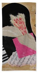 Hand Towel featuring the painting Piano Still Life by Mini Arora