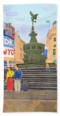 Bath Towel featuring the painting London- Piccadilly Circus by Magdalena Frohnsdorff