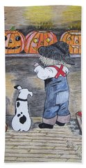 Hand Towel featuring the painting Picking Out The Halloween Pumpkin by Kathy Marrs Chandler