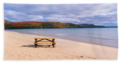 Picnic Table On Beach At Keweenaw Bay Hand Towel
