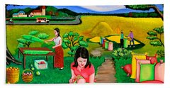 Hand Towel featuring the painting Picnic With The Farmers by Cyril Maza