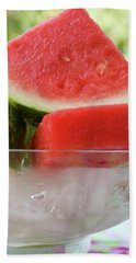 Pieces Of Watermelon In A Bowl Of Ice Cubes Bath Towel