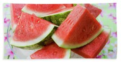 Pieces Of Watermelon On A Glass Platter Bath Towel