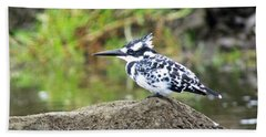 Pied Kingfisher Bath Towel