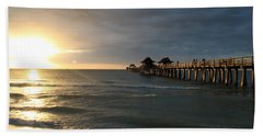 Pier Sunset Naples Hand Towel by Christiane Schulze Art And Photography