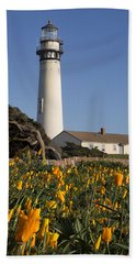 Pigeon Point Lighthouse And California Poppies Hand Towel