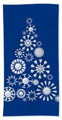 Pine Tree Snowflakes - Dark Blue Hand Towel