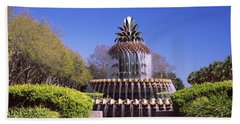 Pineapple Fountain In A Park Hand Towel