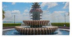 Bath Towel featuring the photograph Pineapple Fountain by Sennie Pierson