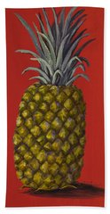 Pineapple On Red Hand Towel