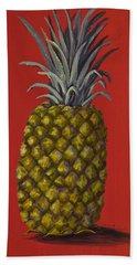 Pineapple On Red Bath Towel