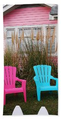 Pink And Blue Chairs By Jan Marvin Bath Towel