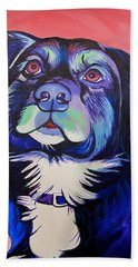 Bath Towel featuring the painting Pink And Blue Dog by Joshua Morton
