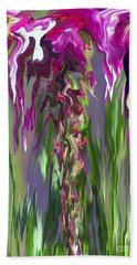 Pink And Green Floral Bath Towel by Cedric Hampton