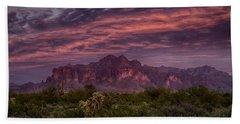 Pink And Purple Desert Skies  Bath Towel