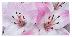 Pink And White Lilies Bath Towel by Jane McIlroy