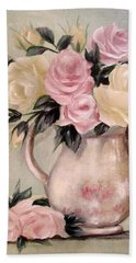 Pink And Yellow Roses In Teapot Painting Bath Towel by Chris Hobel