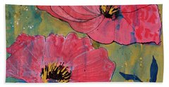 Hand Towel featuring the painting Pink Blossoms by Robin Maria Pedrero