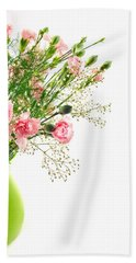 Pink Carnation Flowers Hand Towel