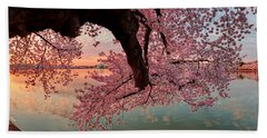 Pink Cherry Blossom Sunrise Bath Towel