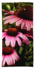 Bath Towel featuring the photograph Pink Coneflowers by James C Thomas