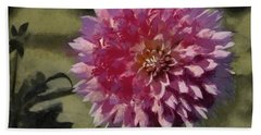 Bath Towel featuring the painting Pink Dahlia by Jeff Kolker